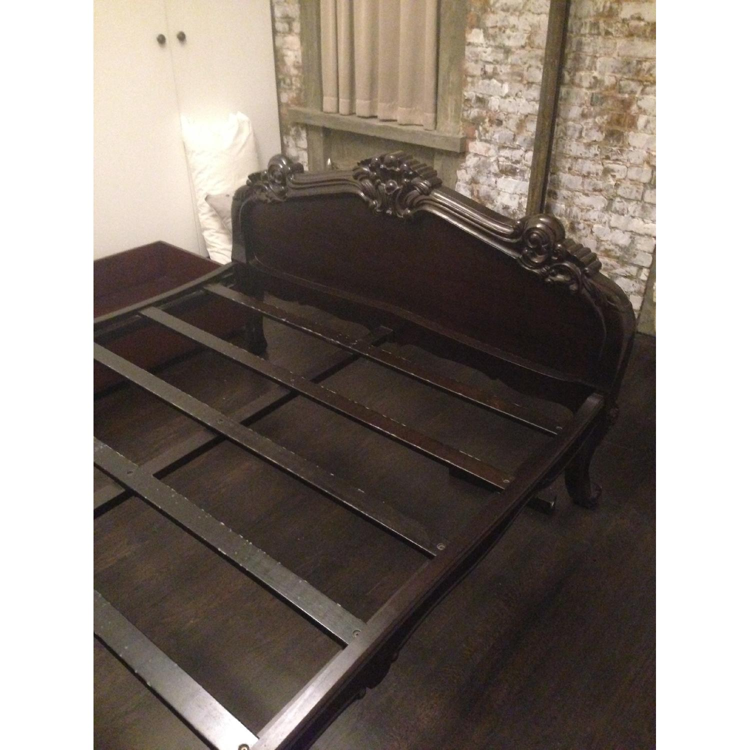 Brocade Home Wooden Queen Size Bed Frame w/ Carved Headboard/Footboard - image-7