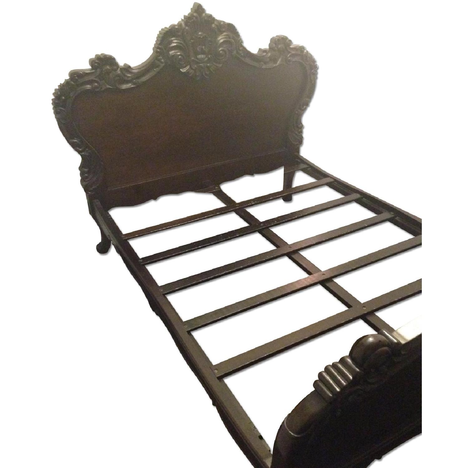 Brocade Home Wooden Queen Size Bed Frame w/ Carved Headboard/Footboard - image-0