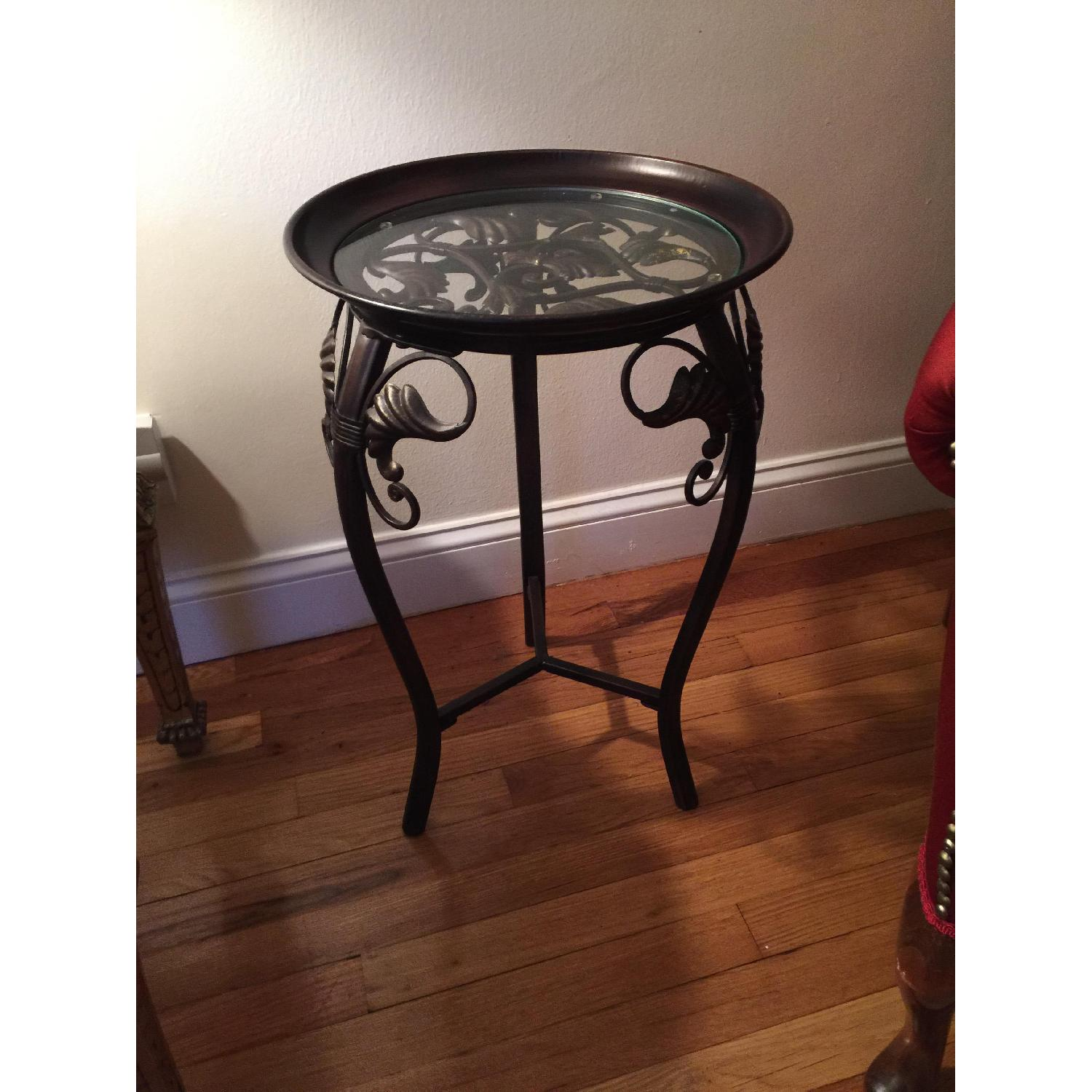 Small Metal & Glass Side Table - image-1