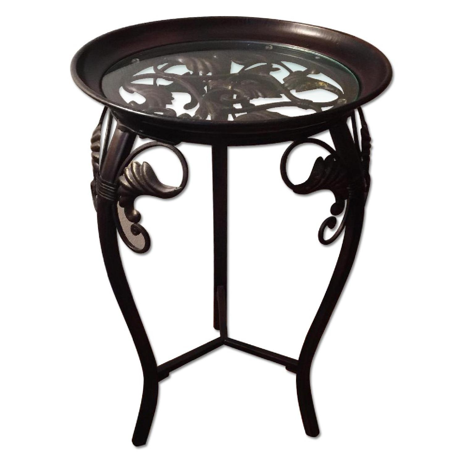 Small Metal & Glass Side Table - image-0