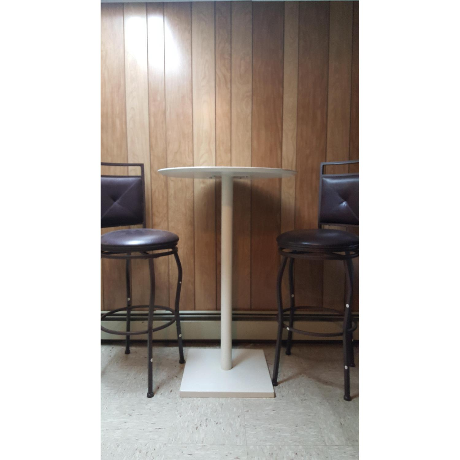 Tall White Bar Table - image-2
