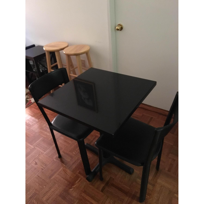 Black Granite Table w/ 2 Chairs - image-1