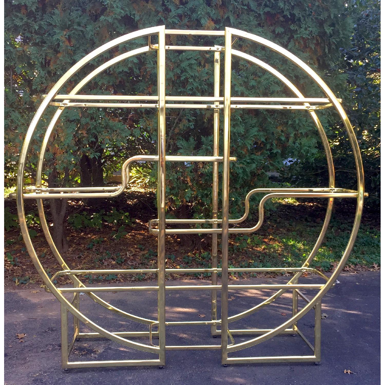 Mid Century Modern Circular Brass Etagere/Display Shelf - image-1