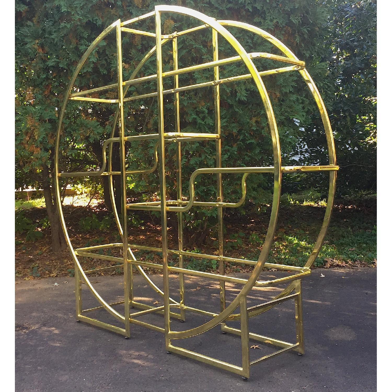 Mid Century Modern Circular Brass Etagere/Display Shelf - image-2