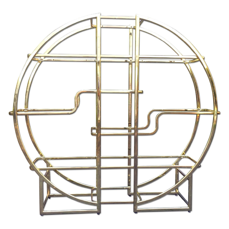 Mid Century Modern Circular Brass Etagere/Display Shelf - image-0