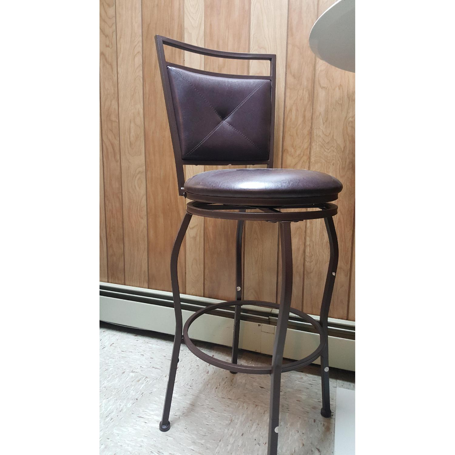 Faux Leather Brown Dining Bar Stools-0