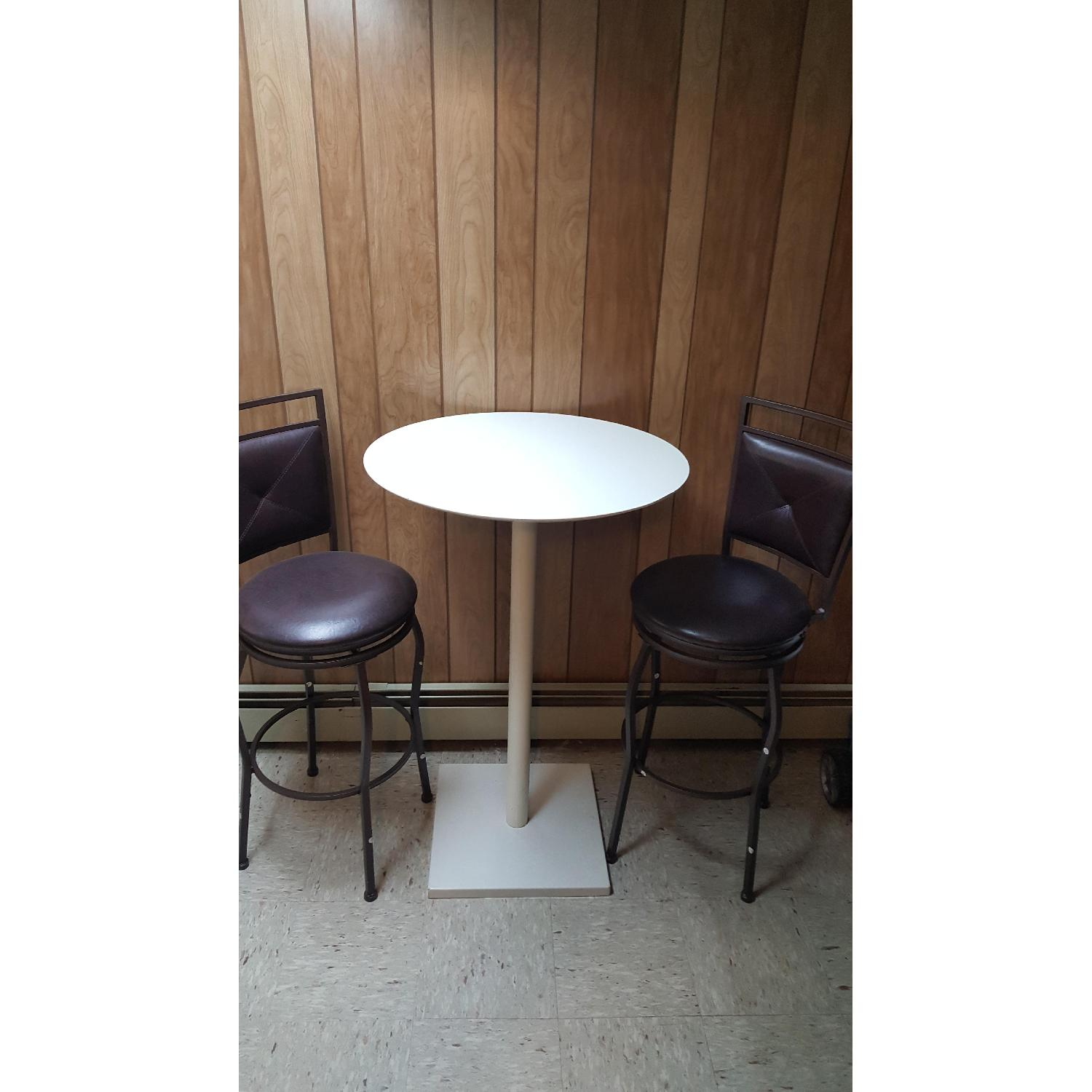 Faux Leather Brown Dining Bar Stools-1