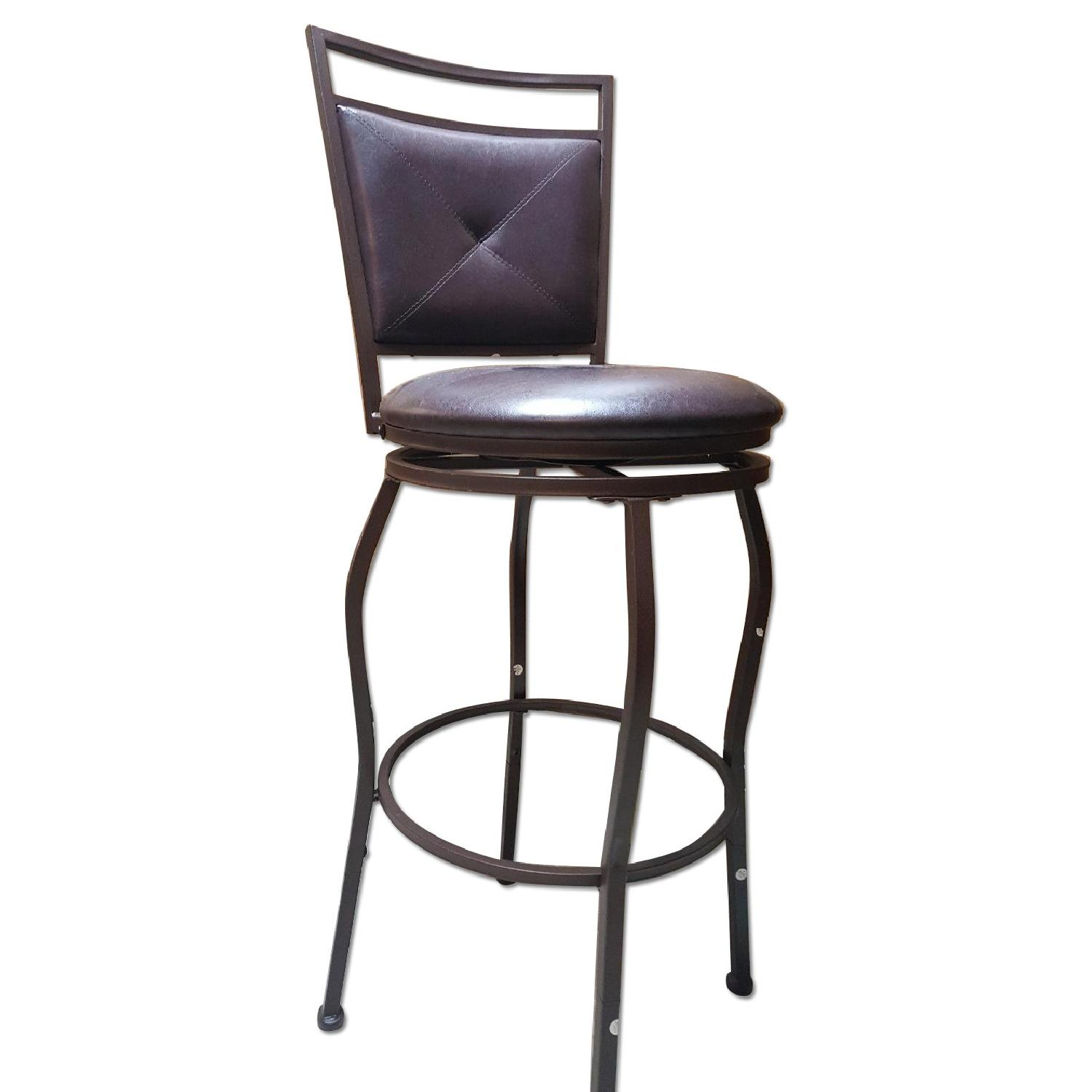 Faux Leather Brown Dining Bar Stools
