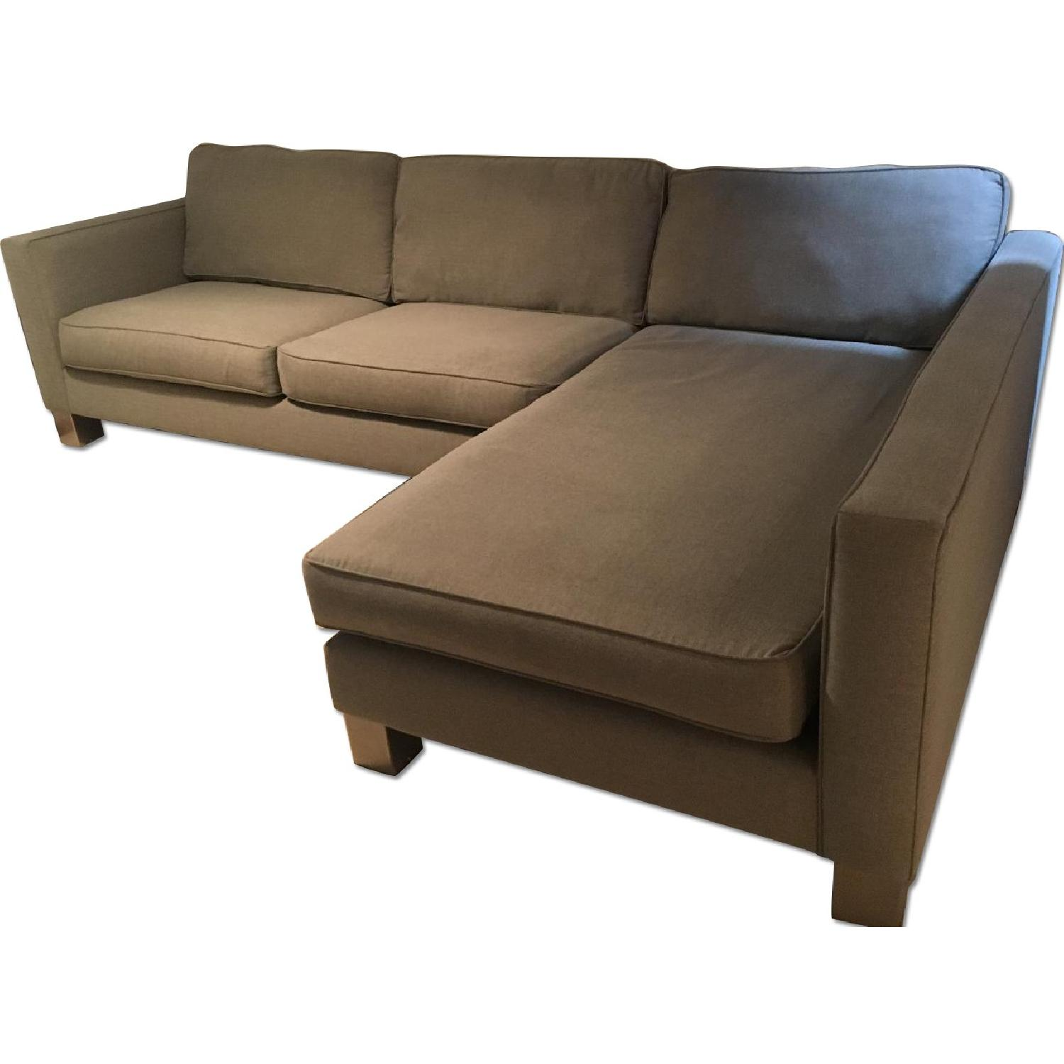 Bloomingdale's 2 Piece L-Shape Sectional w/ Chaise Lounge in Pewter/Gray - image-0