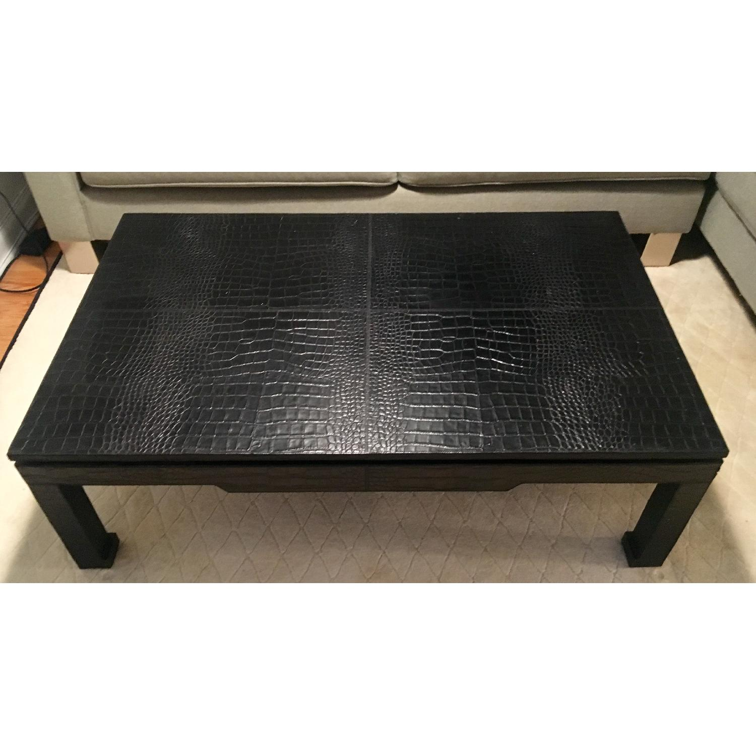 Jonathan Adler Croc-Embossed Leather Cocktail Table w/ Ming Feet - image-2