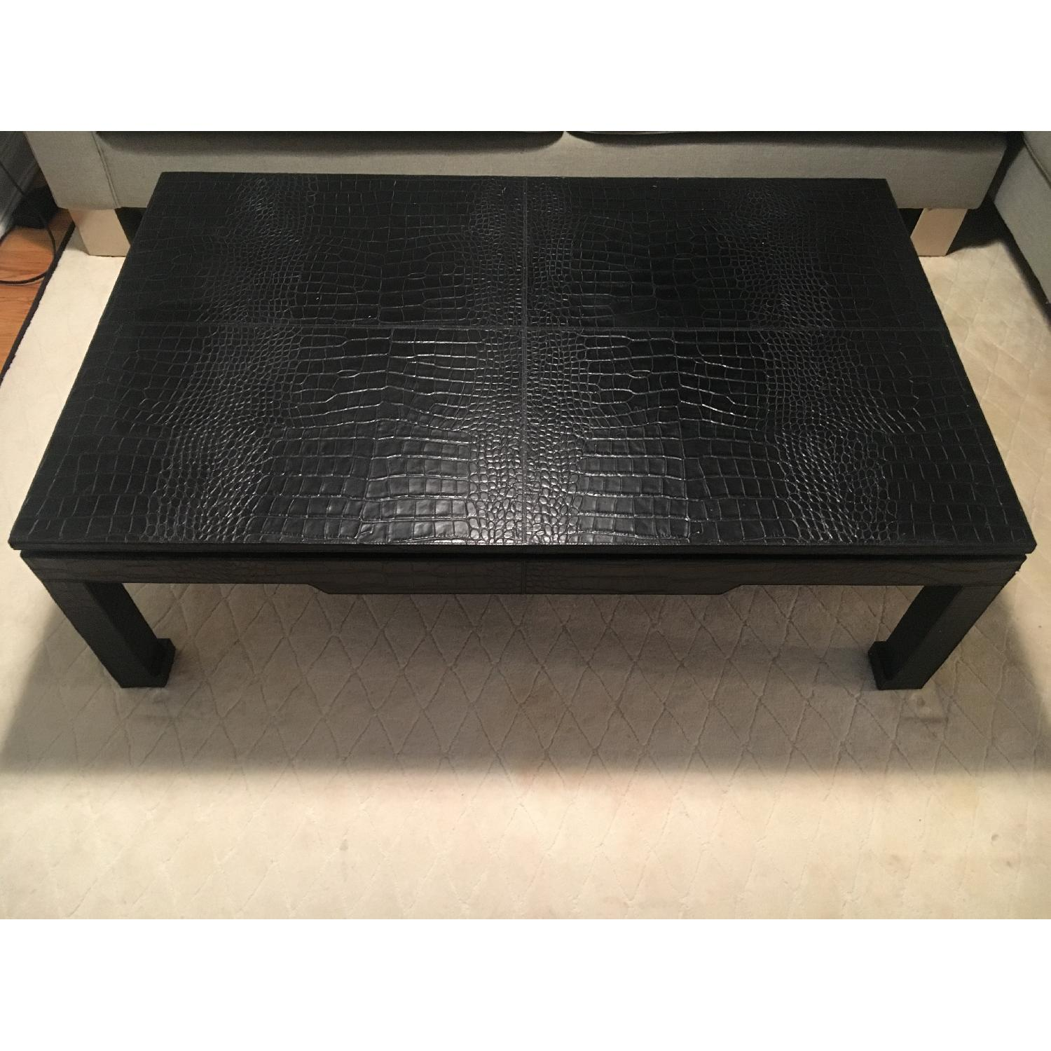Jonathan Adler Croc-Embossed Leather Cocktail Table w/ Ming Feet - image-3