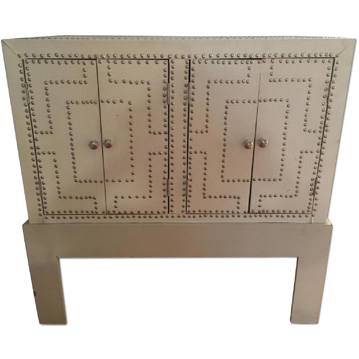 White Studded Storage Cabinet + Nightstand - image-0
