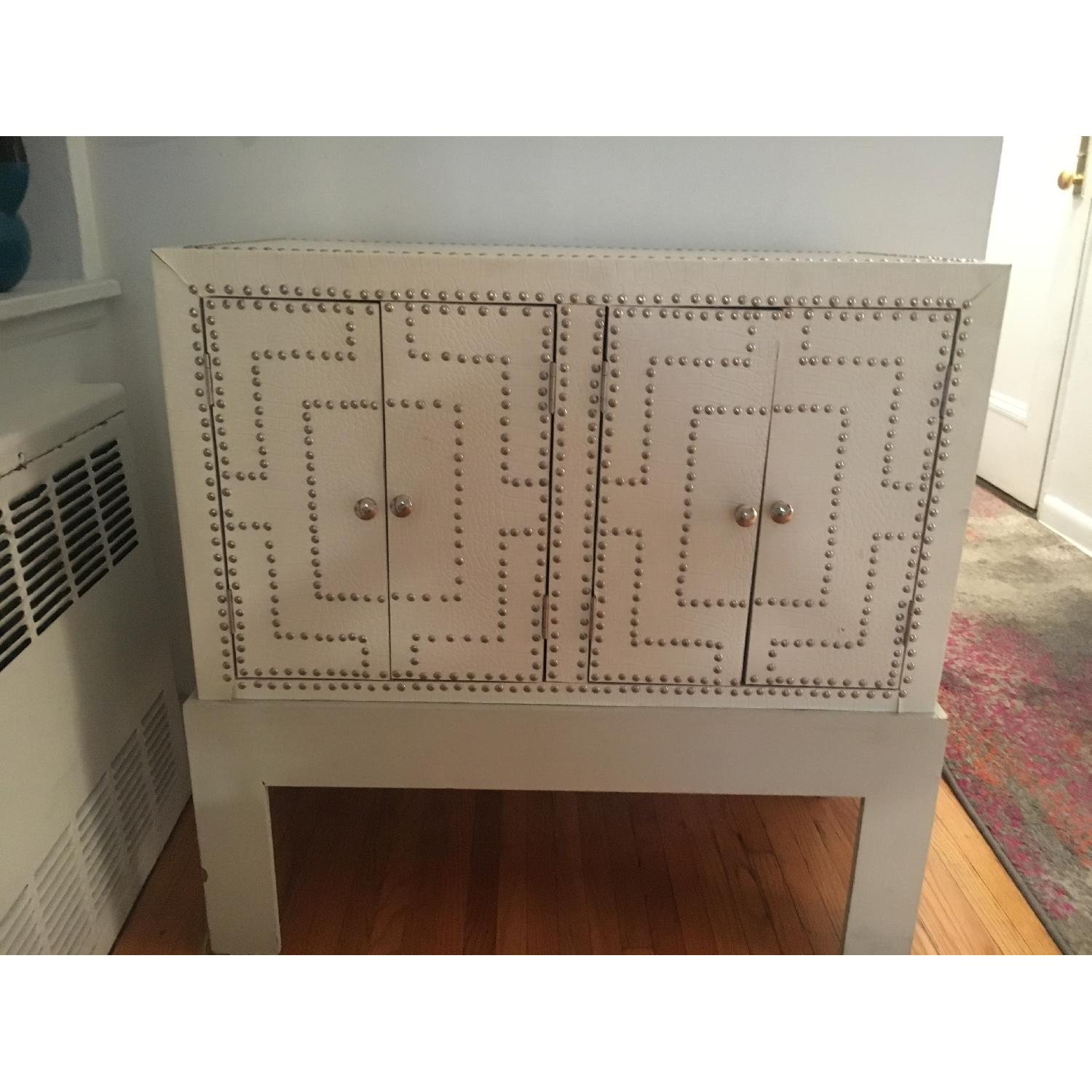 White Studded Storage Cabinet + Nightstand - image-2