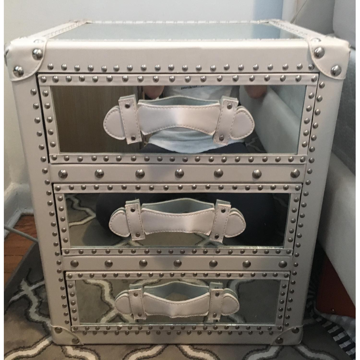 White Studded Storage Cabinet + Nightstand - image-3