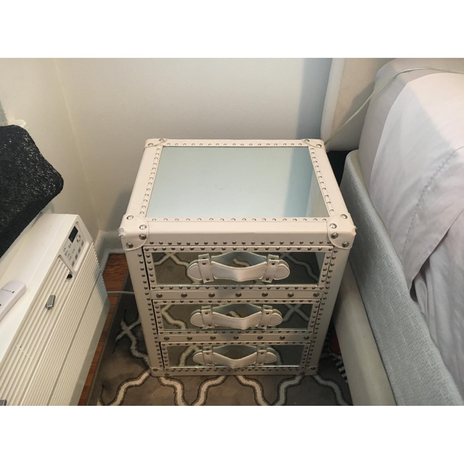 White Studded Storage Cabinet + Nightstand - image-4