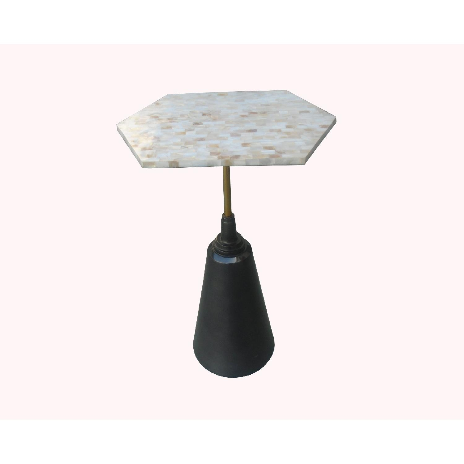 Designe Gallerie Metal Round Side End Table w/ Marble Top - image-0
