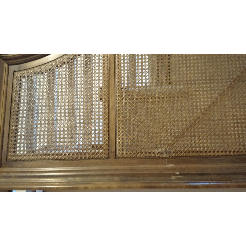 Ethan Allen Maple Wood Headboard w/ 3 Cane Panels - image-3