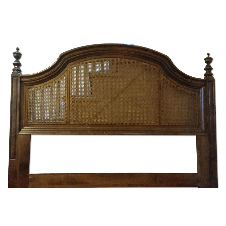 Ethan Allen Maple Wood Headboard w/ 3 Cane Panels - image-0