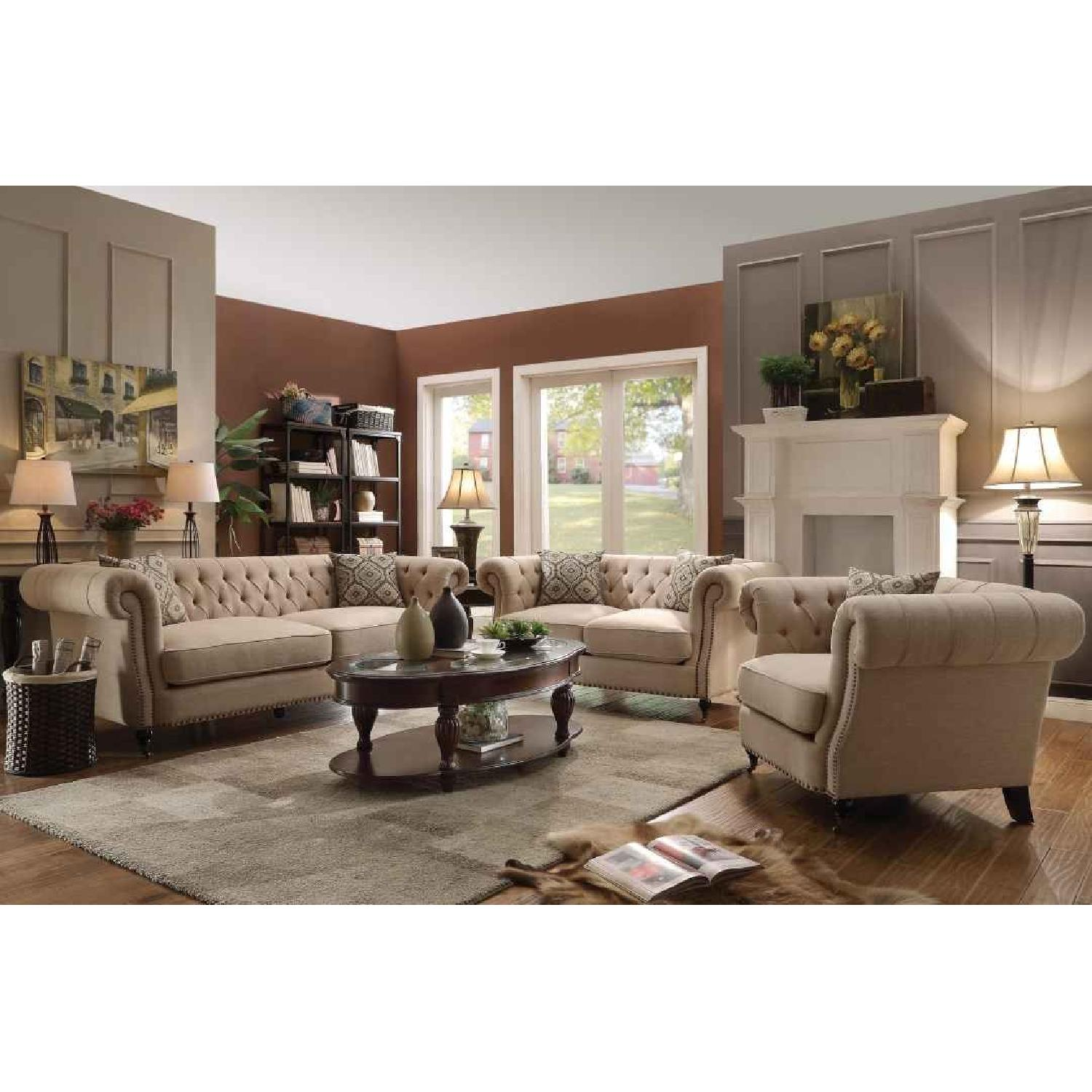 Wotj Tufted Back Rolled Arms Sofa w/ Nailhead Accent - image-1