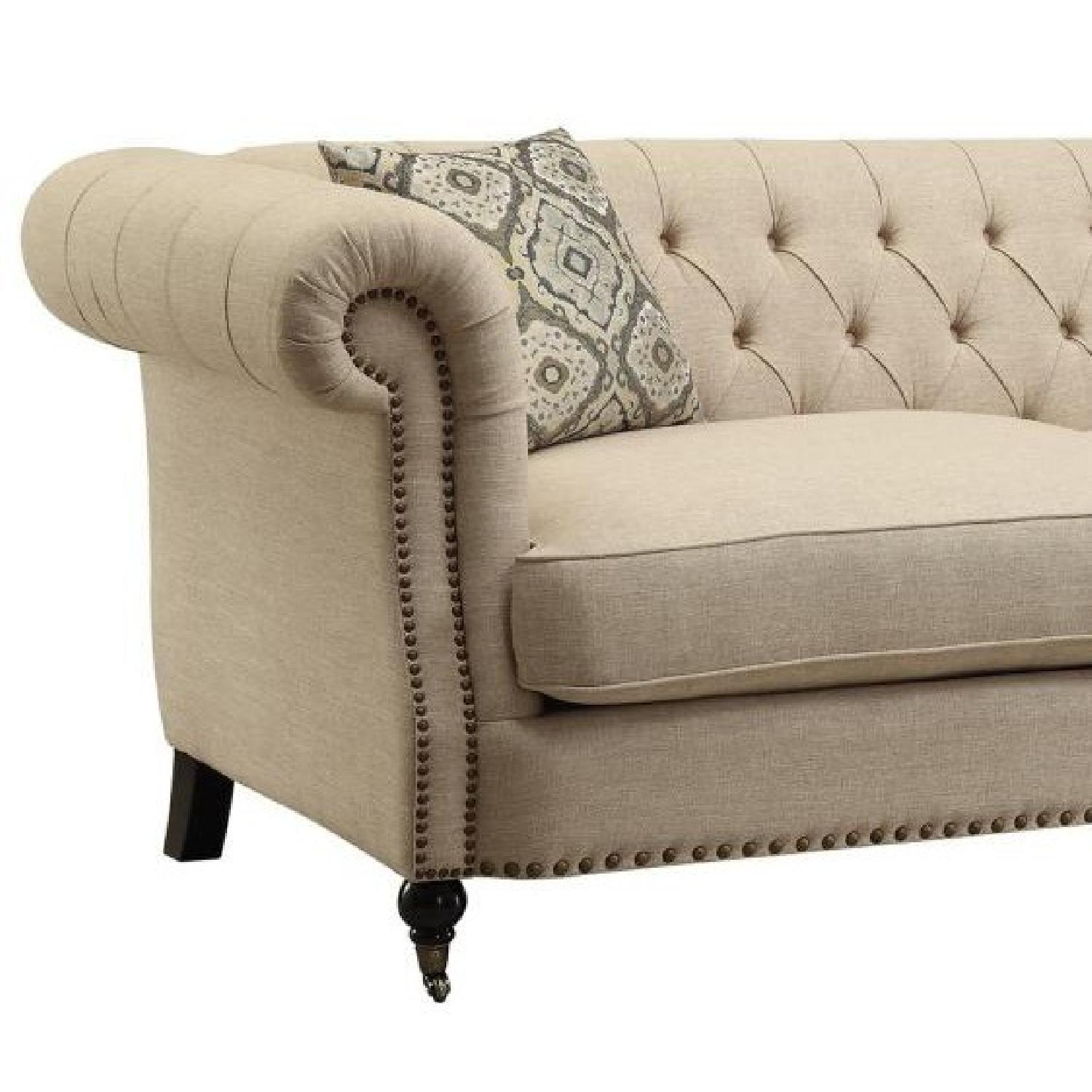 Wotj Tufted Back Rolled Arms Sofa w/ Nailhead Accent - image-2
