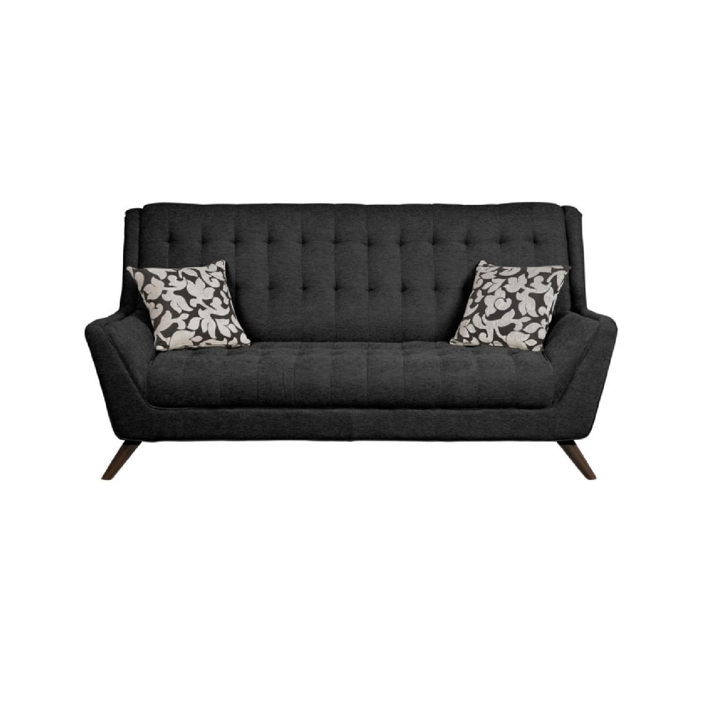 Modern Retro Sofa in Black Chenille Fabric