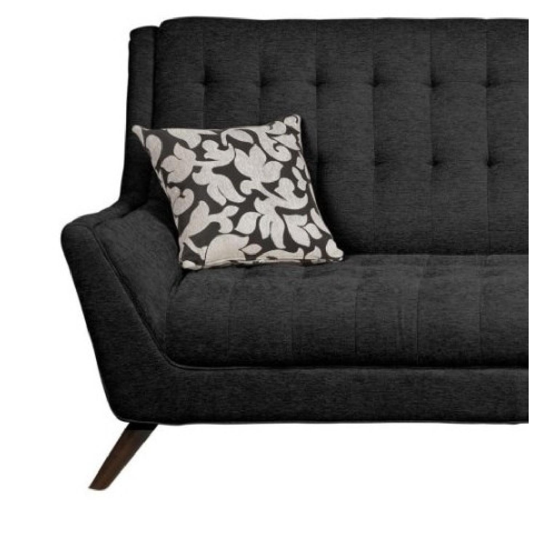 Modern Retro Sofa in Black Chenille Fabric - AptDeco