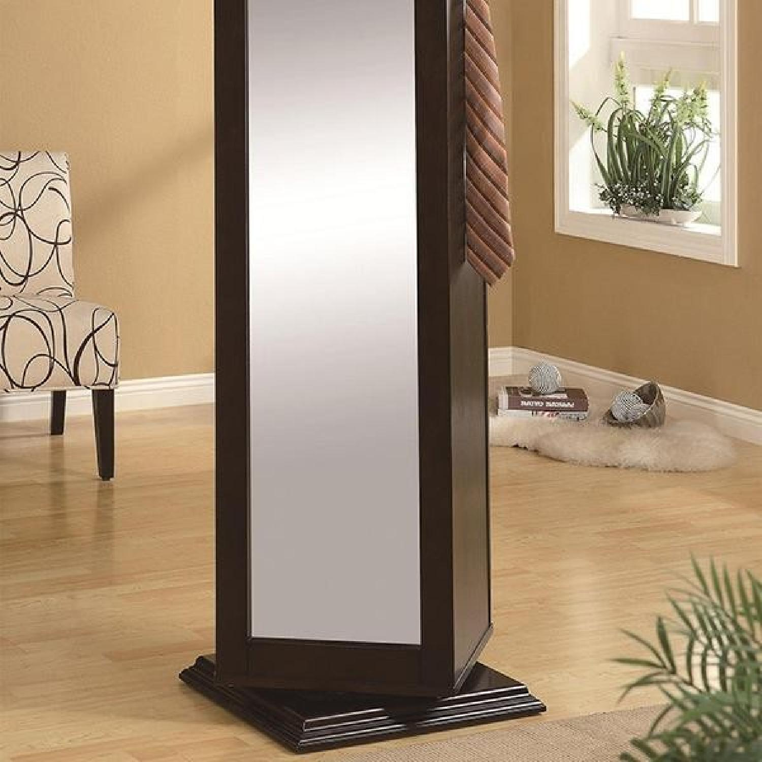 Swivel Cabinet w/ Mirror & Nailboard in Black Finish - image-1
