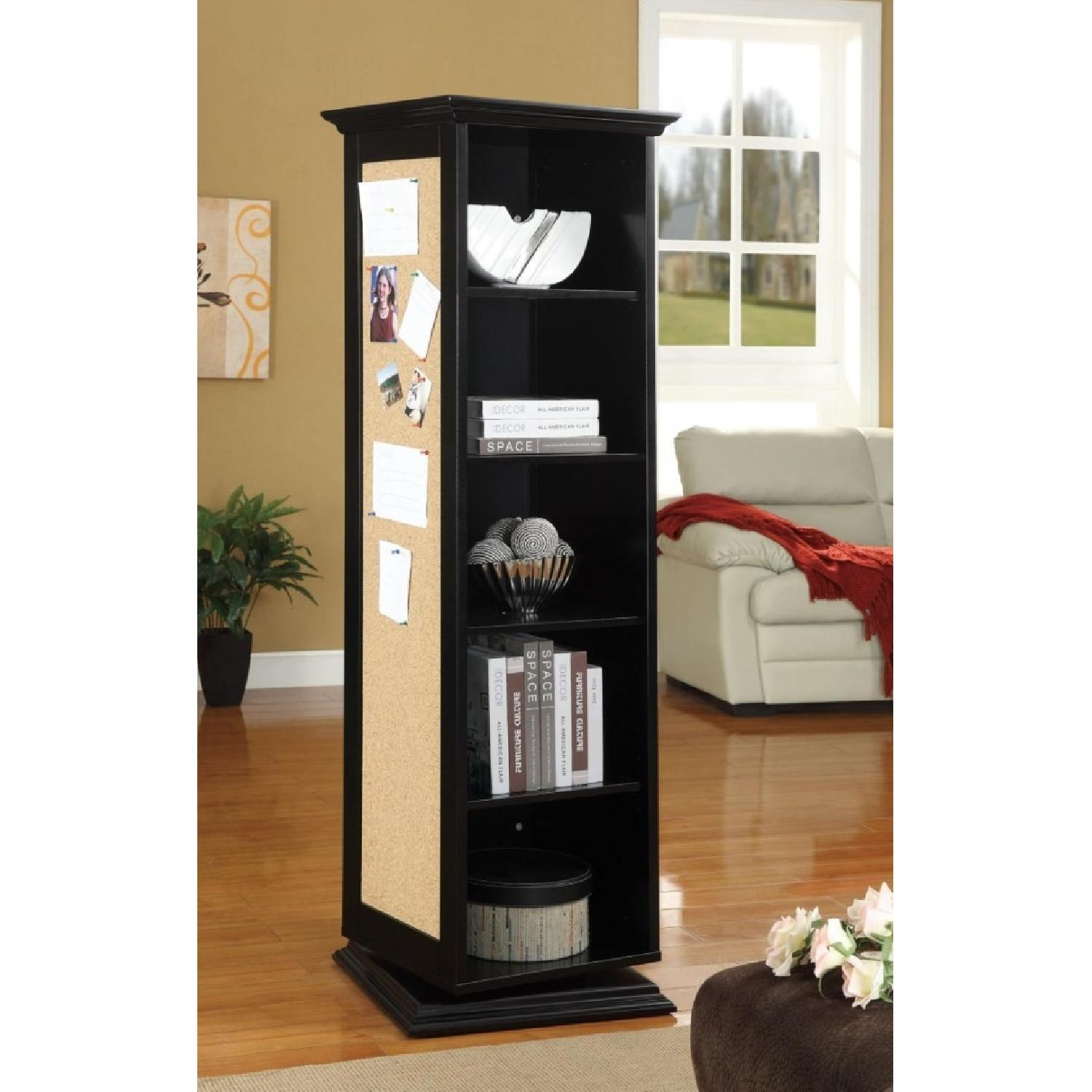 Swivel Cabinet w/ Mirror & Nailboard in Black Finish - image-2