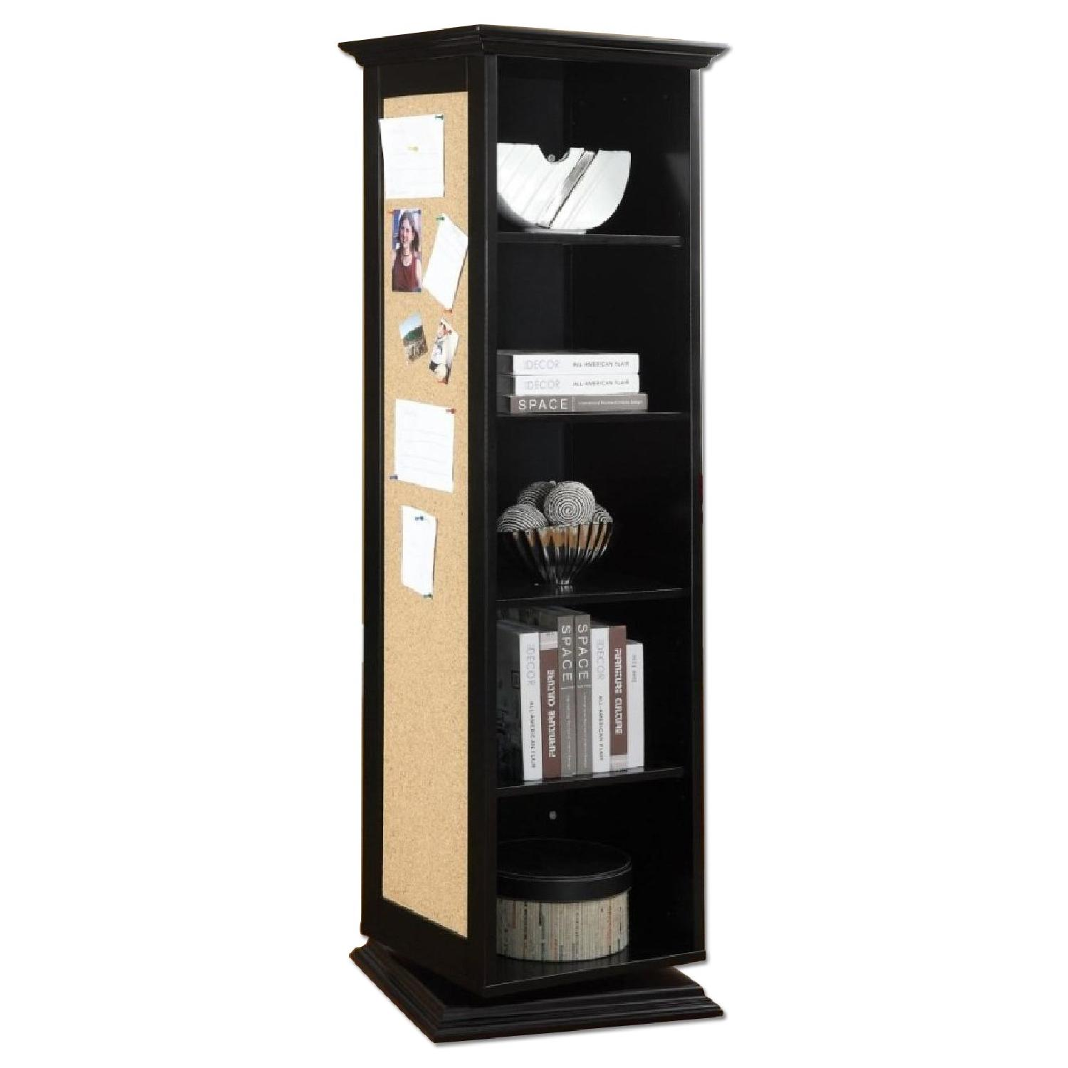 Swivel Cabinet w/ Mirror & Nailboard in Black Finish - image-0