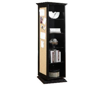 Swivel Cabinet w/ Mirror & Nailboard in Black Finish