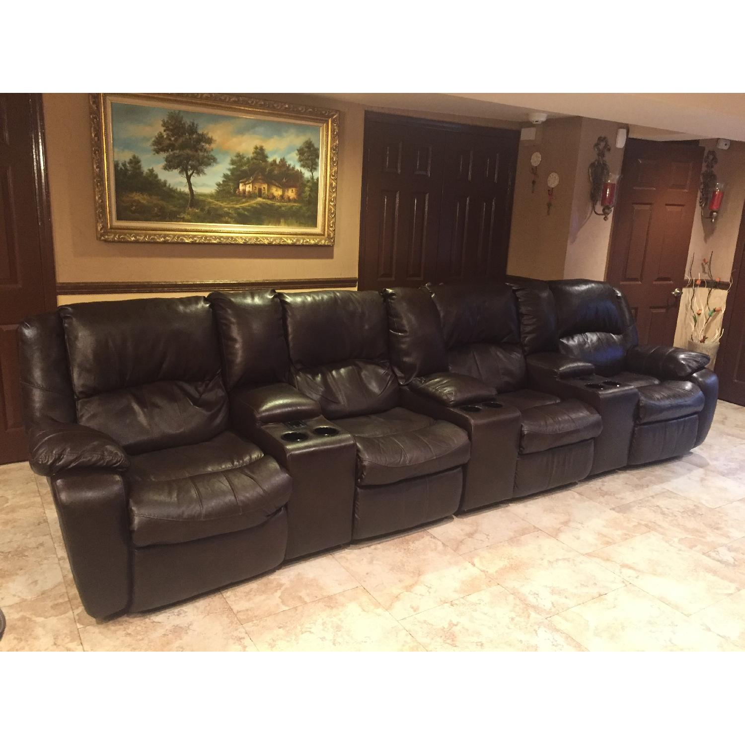 Ashley's Brown Leather Power Reclining Sectional - image-1