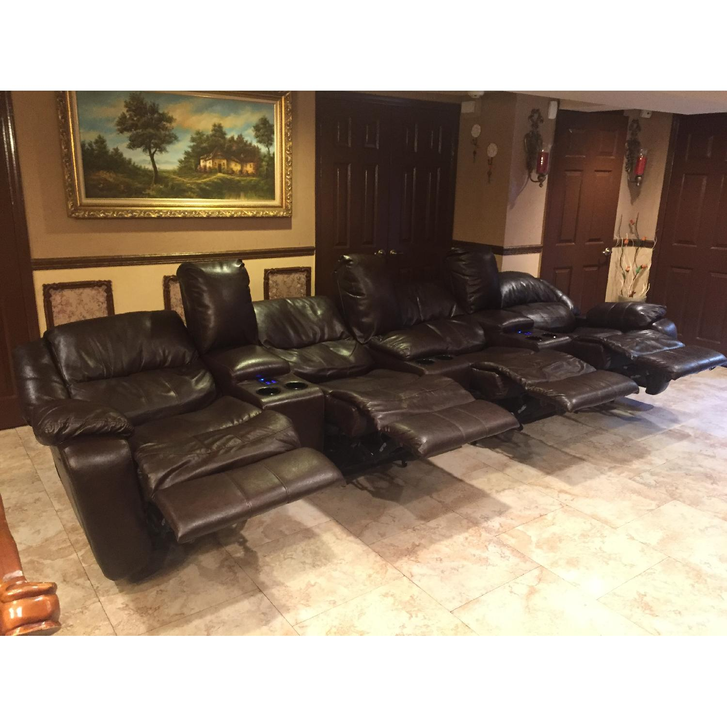 Ashley's Brown Leather Power Reclining Sectional - image-2