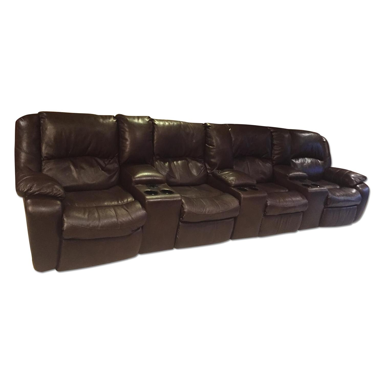Ashley's Brown Leather Power Reclining Sectional - image-0