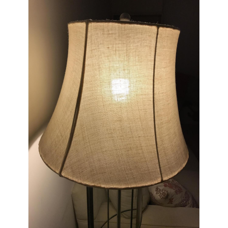 Ethan Allen 3-Way Floor Lamp w/ Shabby Chic Lamp Shade - image-2