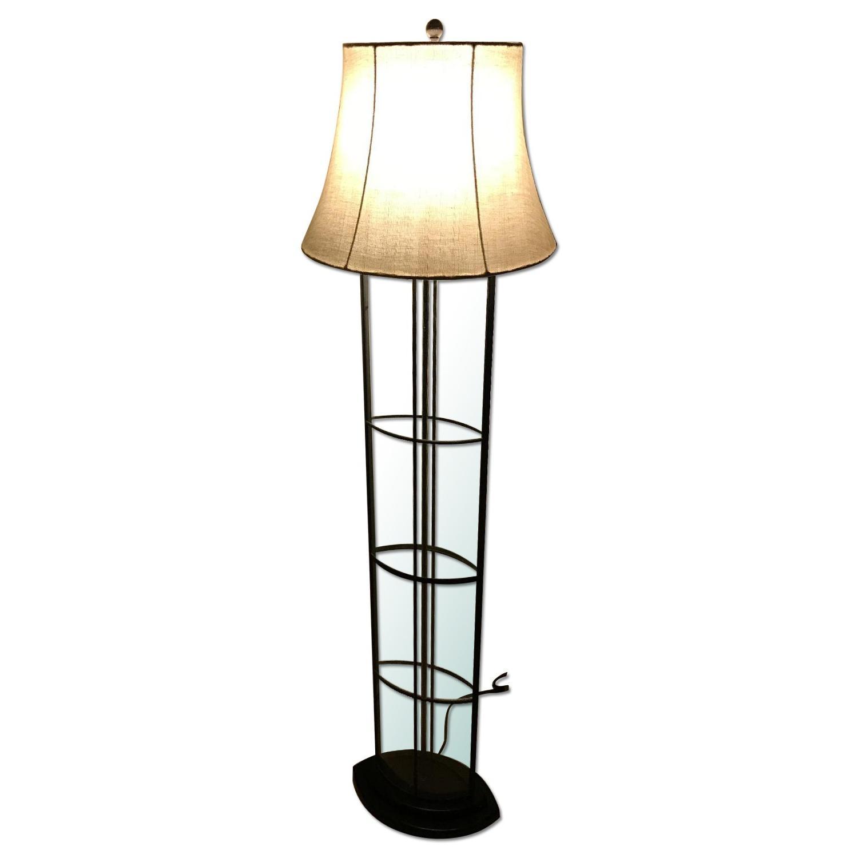 Ethan Allen 3-Way Floor Lamp w/ Shabby Chic Lamp Shade - image-0