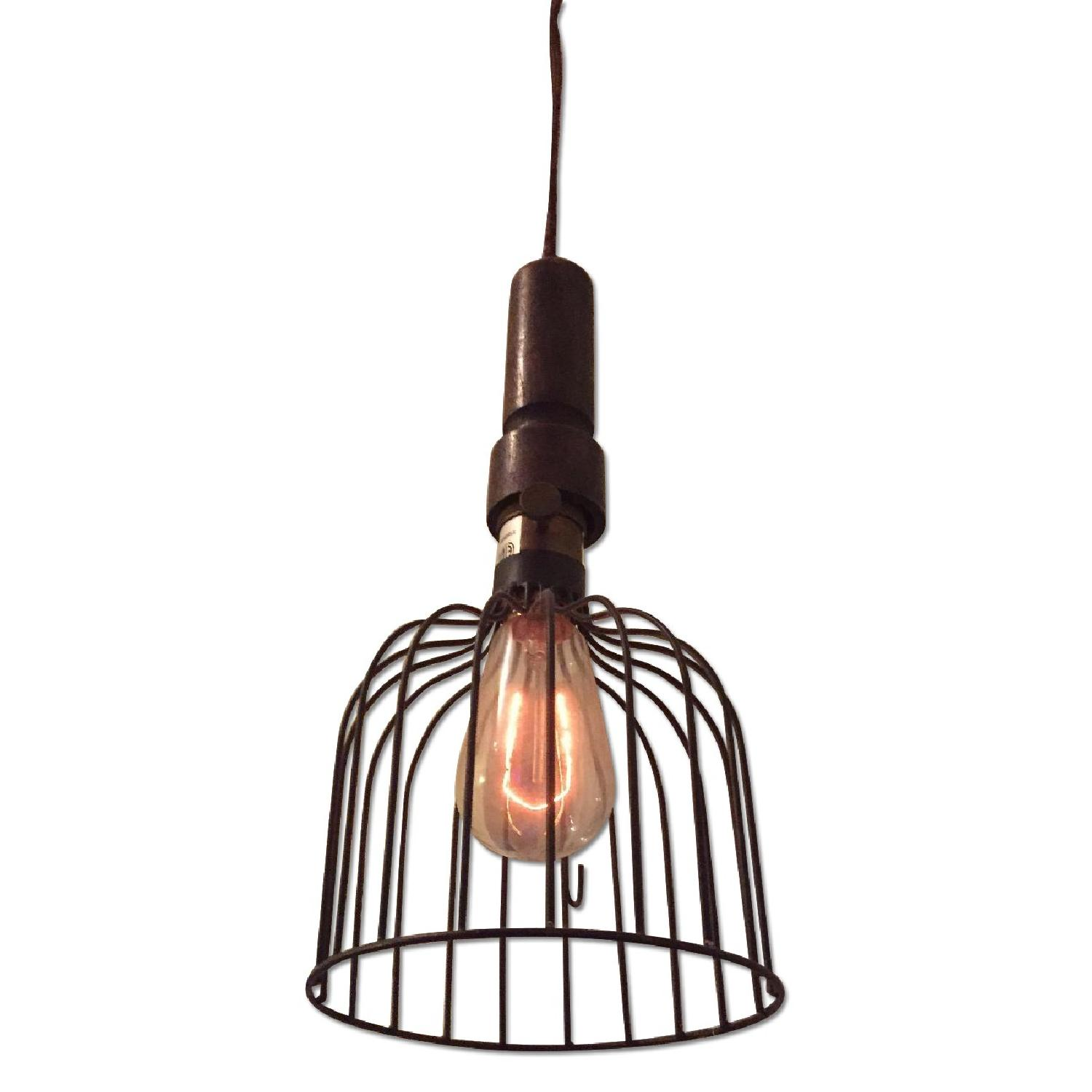 Pottery Barn Hanging Cage Light w/ Edison Bulb - image-0