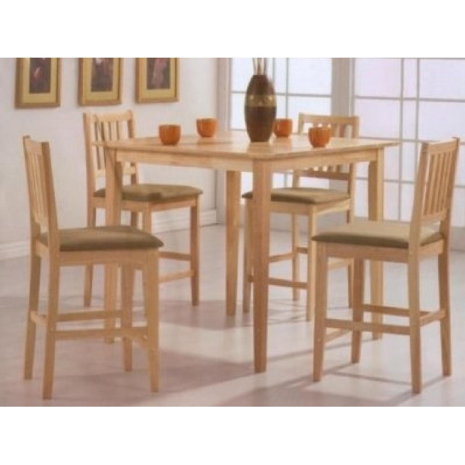 5 Piece Counter Height Solid Wood Dining Set In Natural Finish - image-1