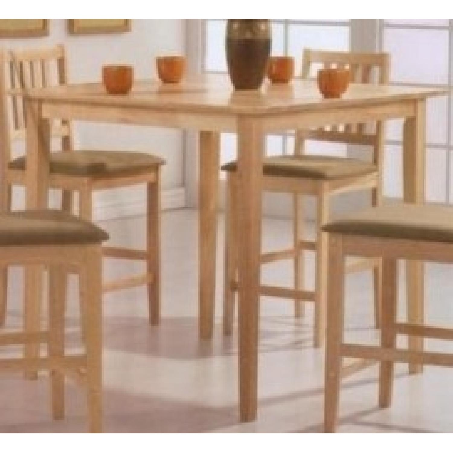 5 Piece Counter Height Solid Wood Dining Set In Natural Finish - image-2