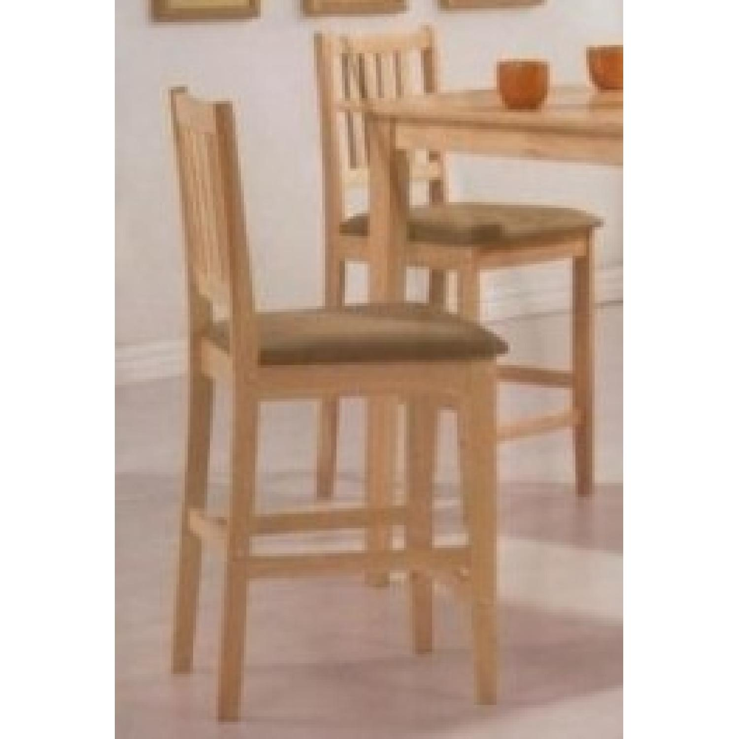 5 Piece Counter Height Solid Wood Dining Set In Natural Finish - image-3