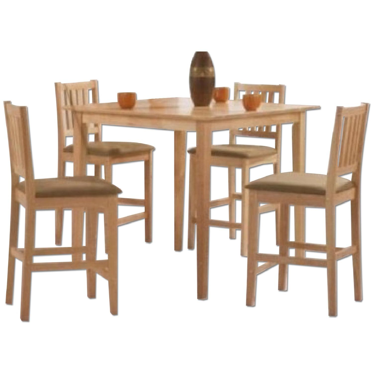 5 Piece Counter Height Solid Wood Dining Set In Natural Finish - image-0