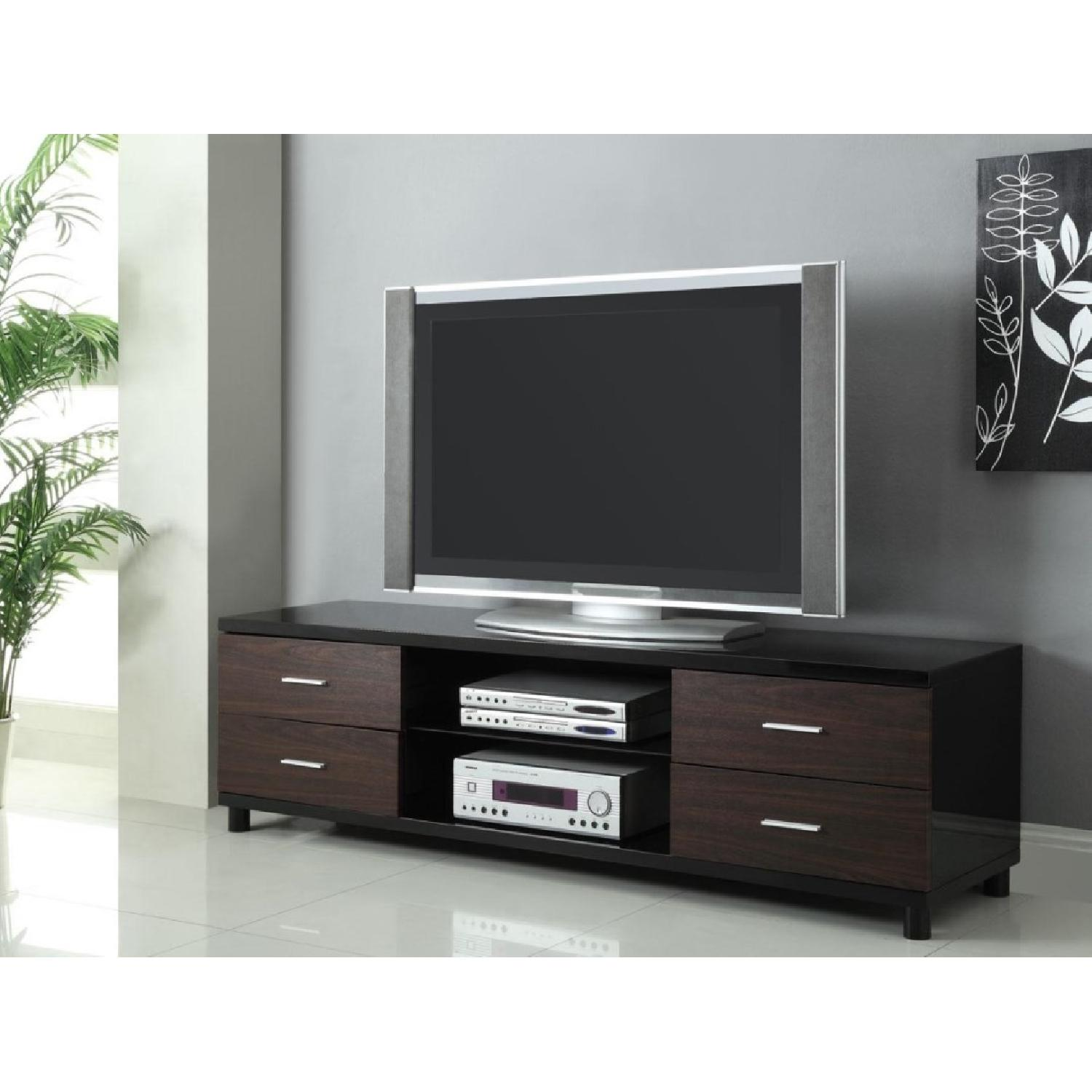 Long Contemporary TV Stand w/ 4 Utility Drawers & 2 Media Shelves - image-1