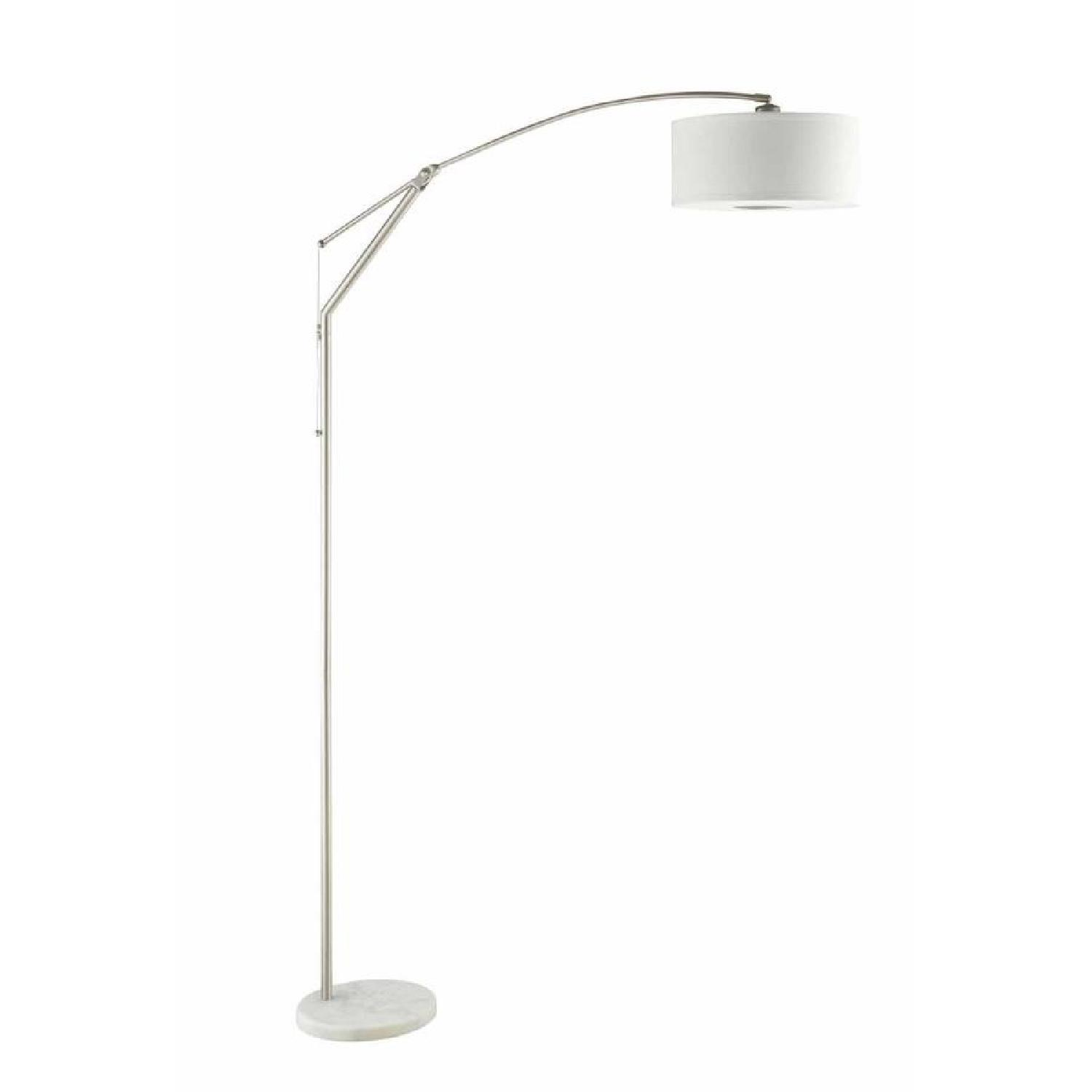 Floor Lamp w/ Arched Back & Round White Pendent Shade