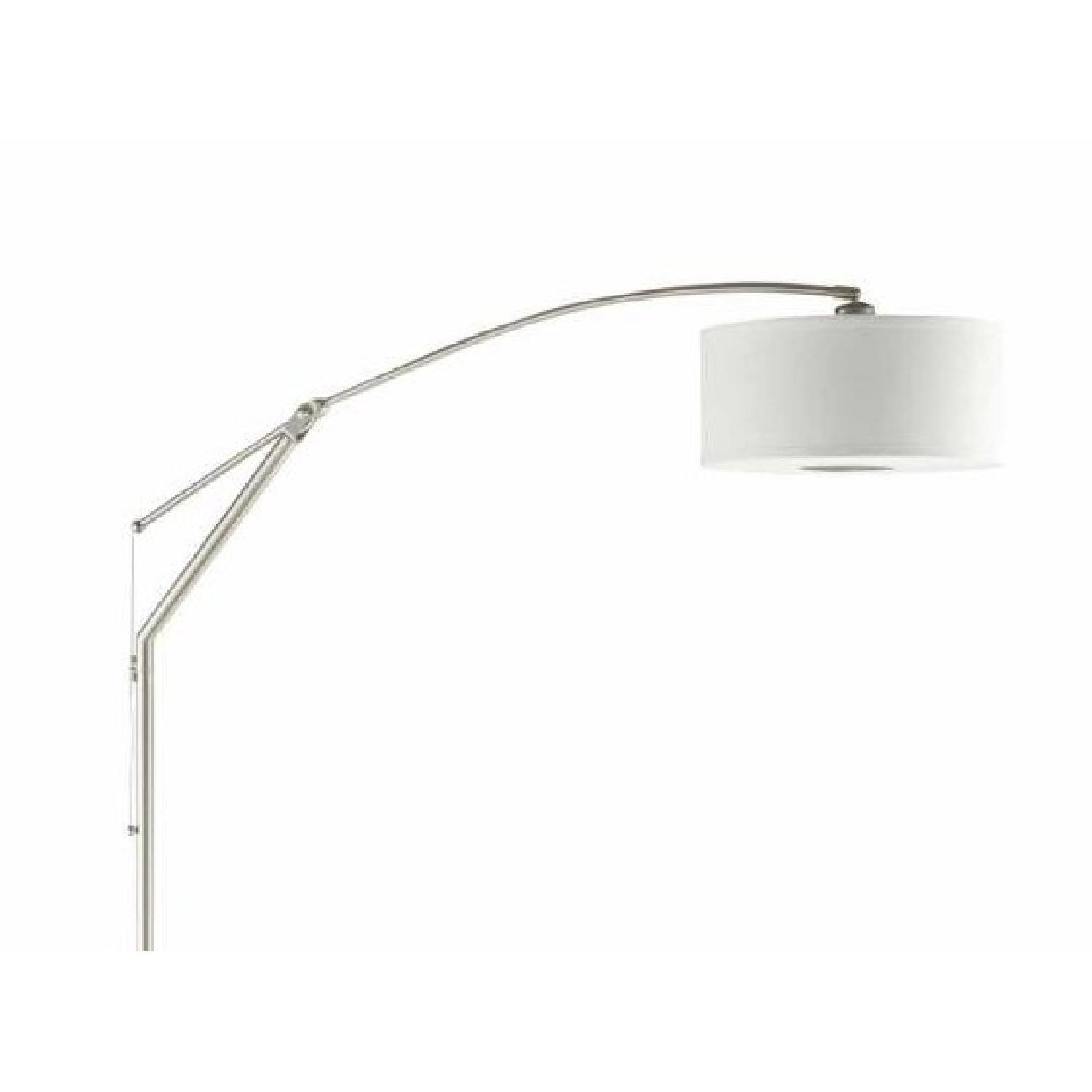 Floor Lamp w/ Arched Back & Round White Pendent Shade - image-1