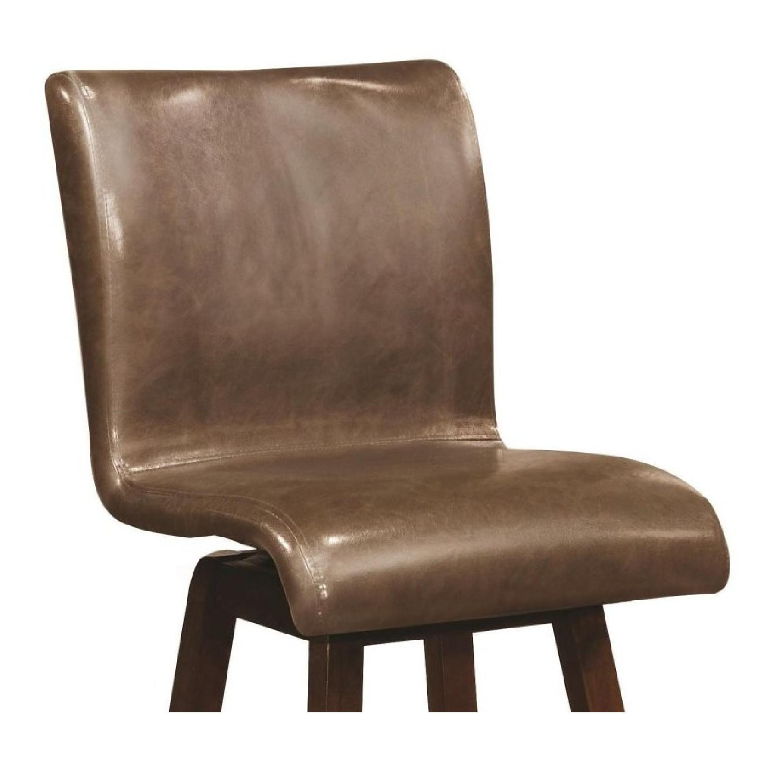 Modern Upholstered Barstool w/ Brown Cushions - image-1