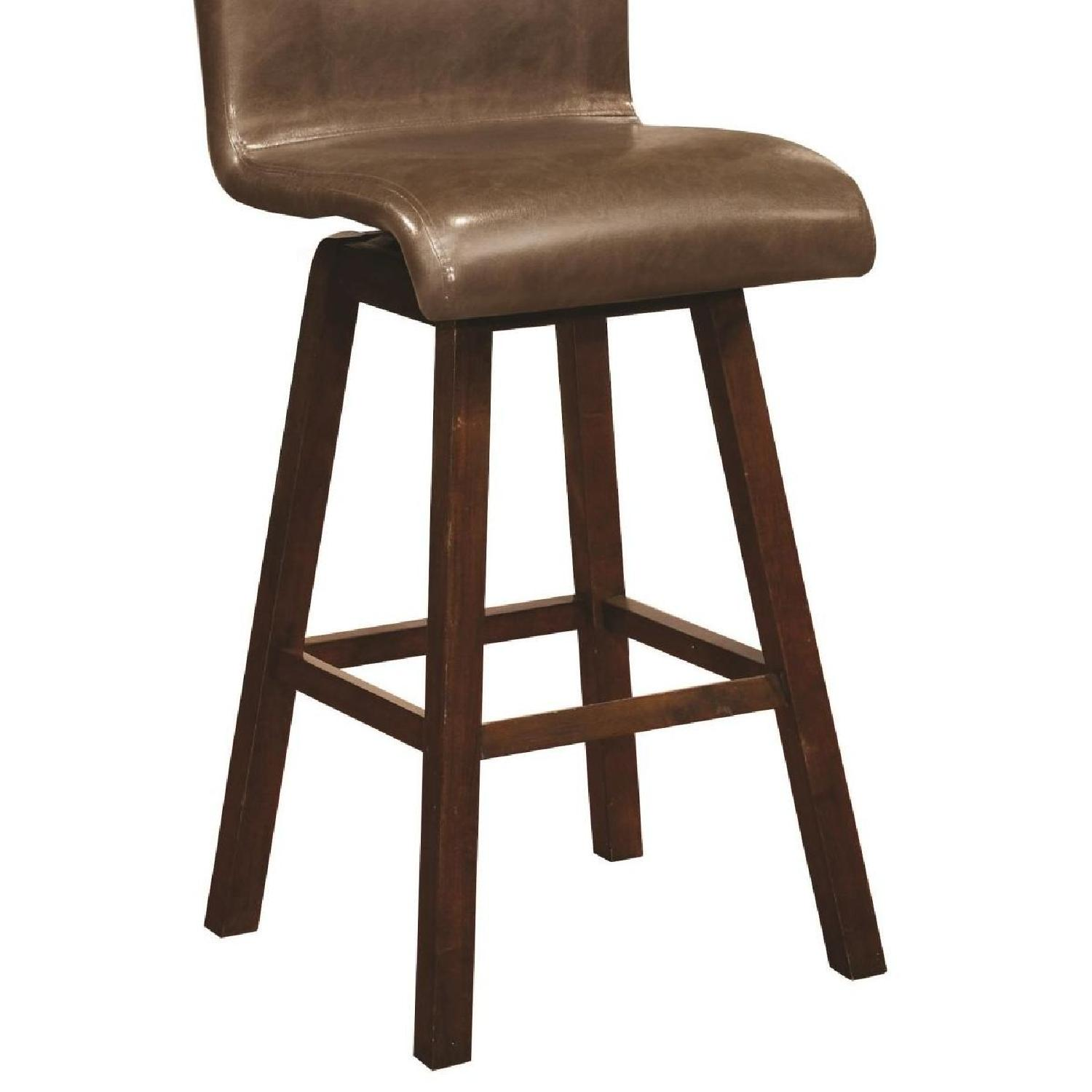 Modern Upholstered Barstool w/ Brown Cushions - image-2