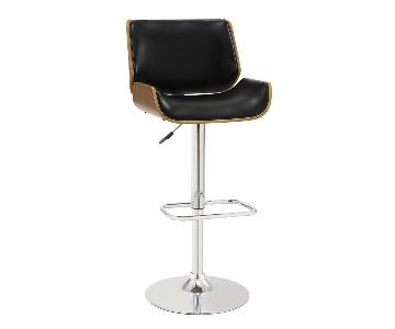 Mid-Century Modern Height Adjustable Swivel Barstool w/ Black Cushion