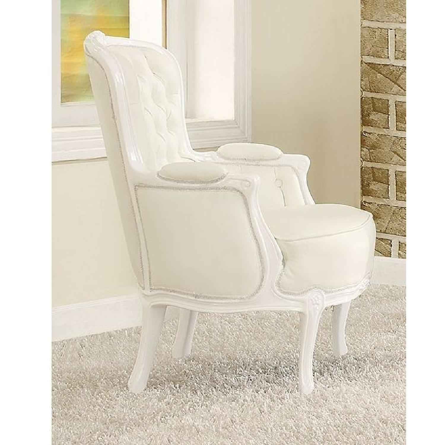 White Accent Chair w/ Button Tufted Back & Padded Seat & Armrests - image-1