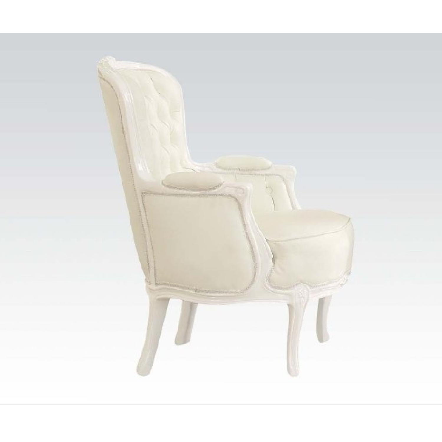 White Accent Chair w/ Button Tufted Back & Padded Seat & Armrests - image-0