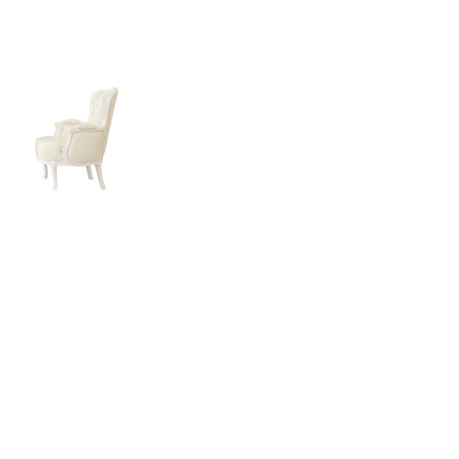 White Accent Chair w/ Button Tufted Back & Padded Seat & Armrests - image-2