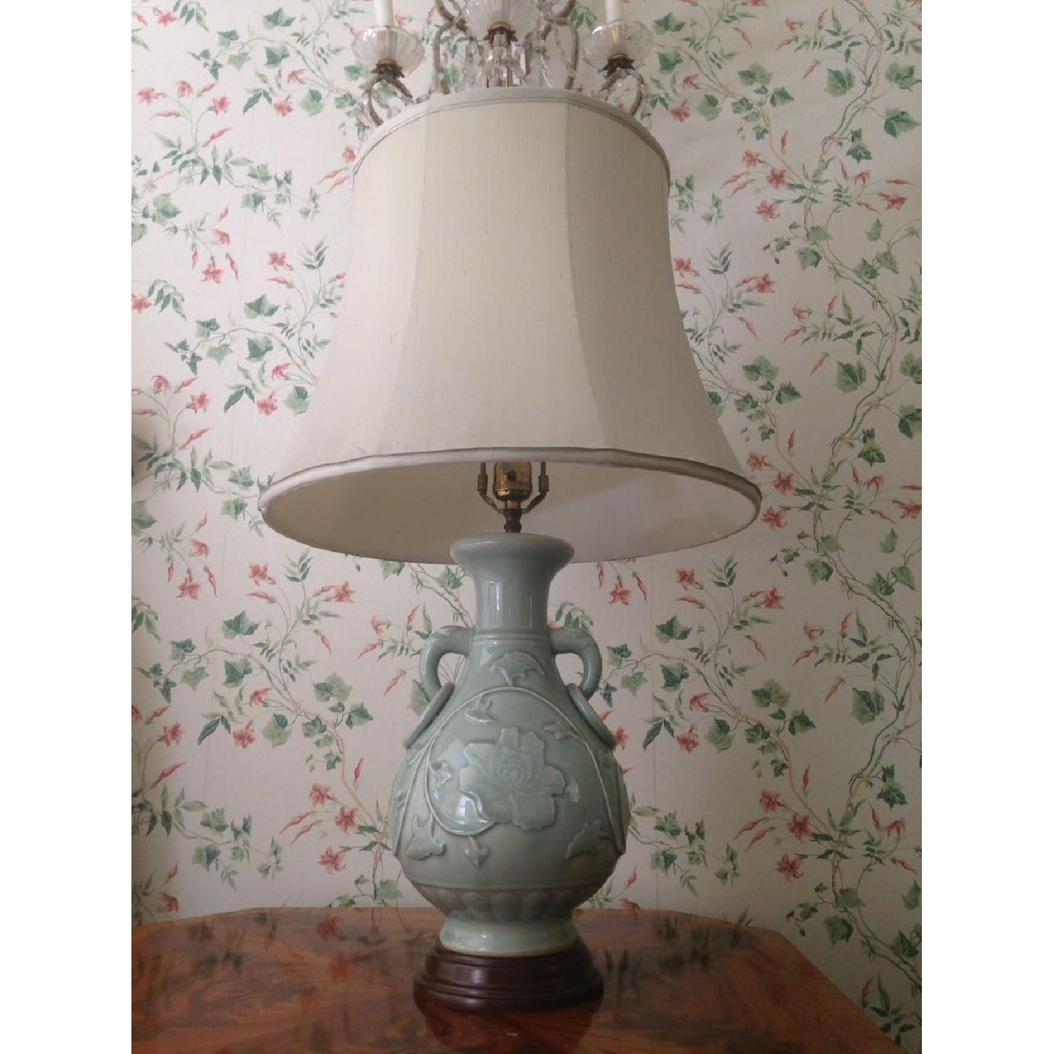 Green Jade Porcelain Lamp - image-0
